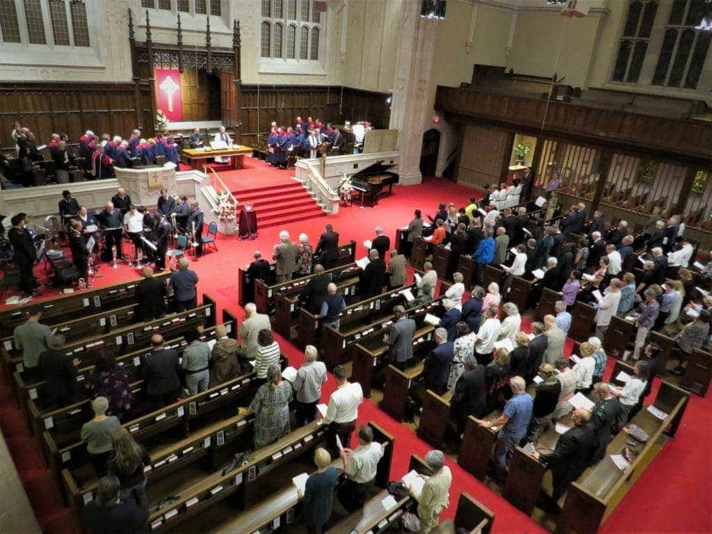 pews of participants at Yorkminster Park Baptist Church in Toronto at the 75th Anniversary worship service on Sep 26, 2019