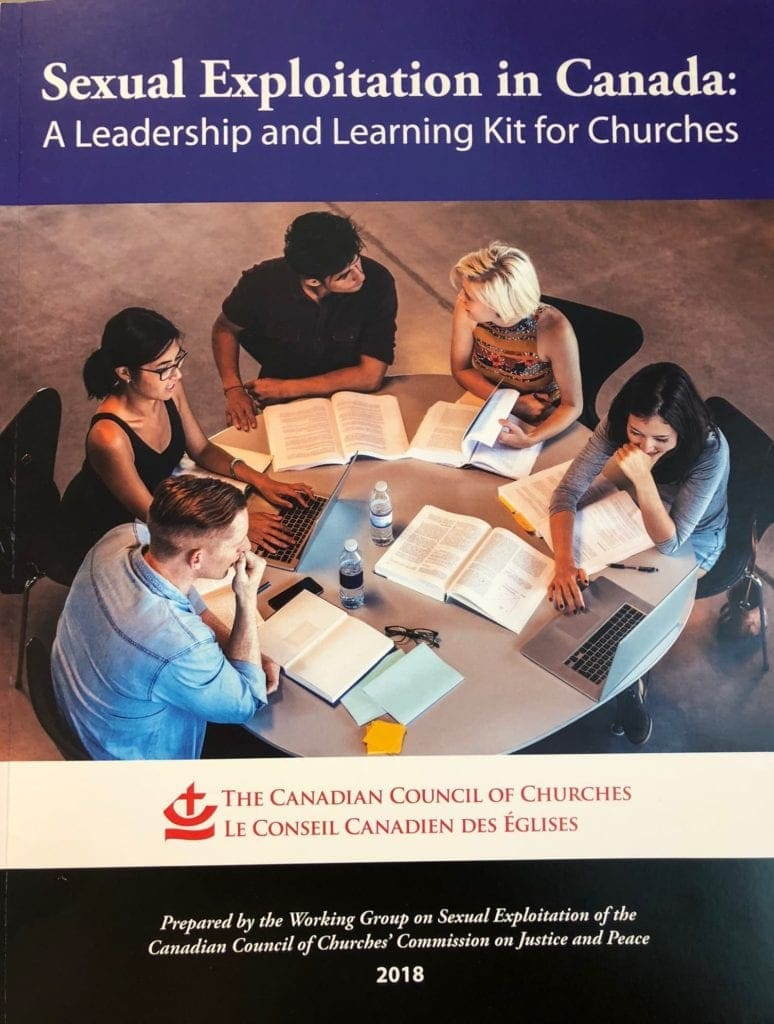 Cover of sexual exploitation in canada publication, featuring a group sitting at a meeting table in discussion