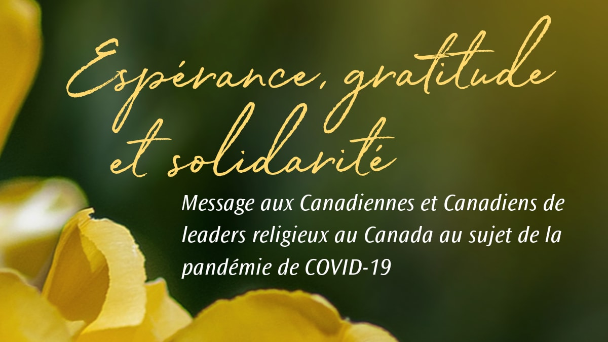 Hope, gratitude, and solidarity cover image with flower - French