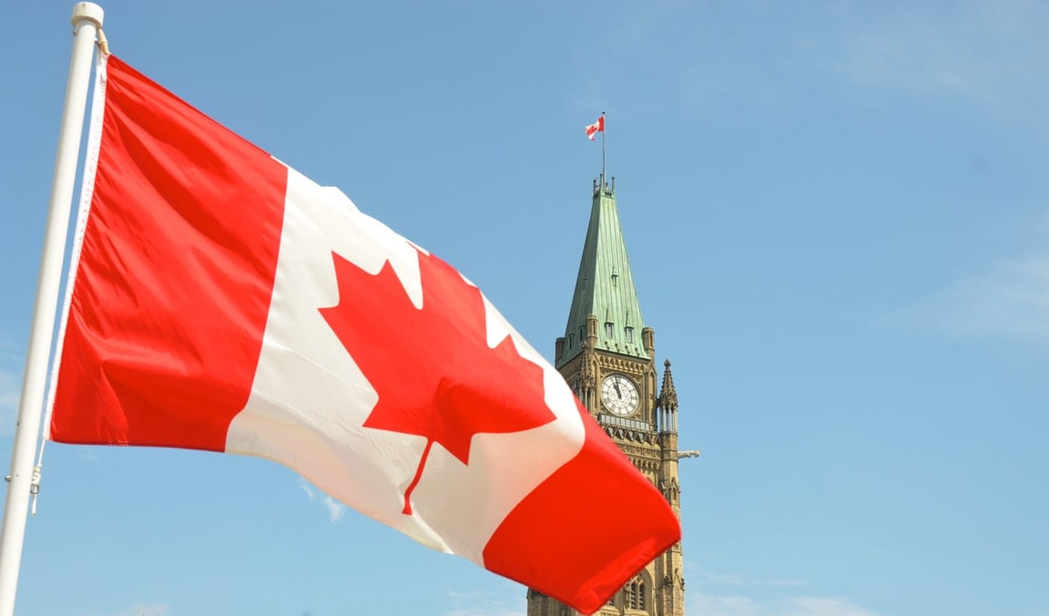 Canadian flag on parliament hill