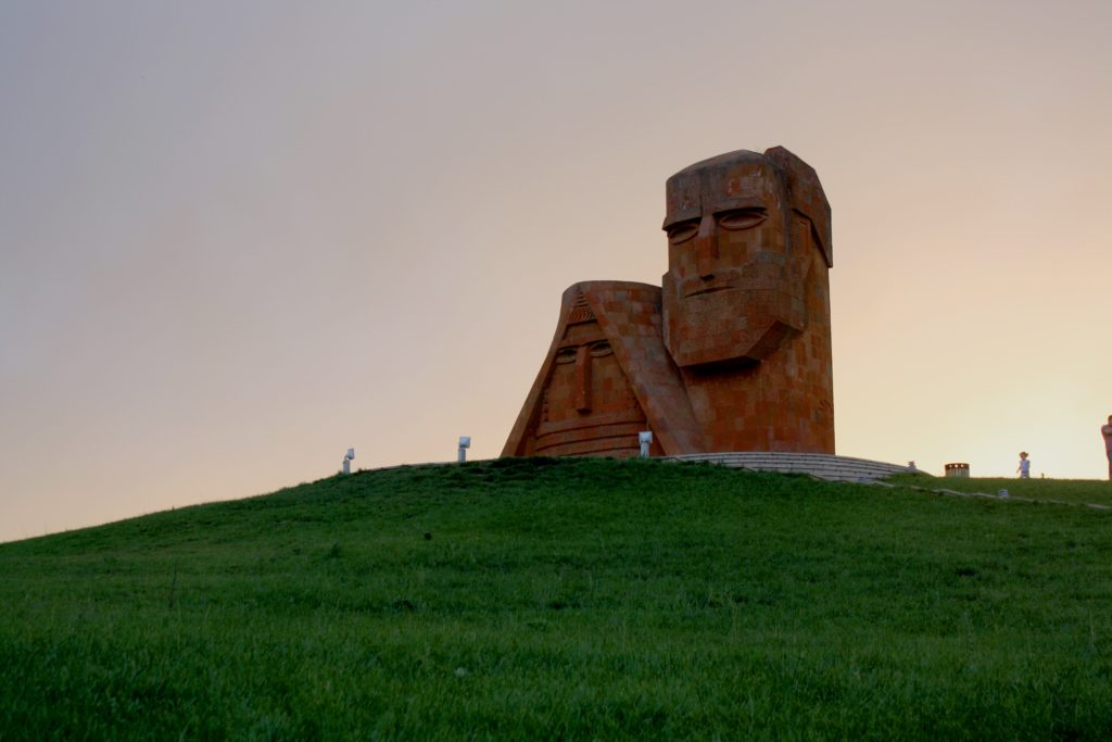 This monument has become a popular symbol of local heritage. It appears on the Artsakh coat of arms, and is sometimes called 'Tatik-Papik' – Armenian for 'Grandma and Grandpa.' Architect: Sargis Baghdasaryan Completed: 1967